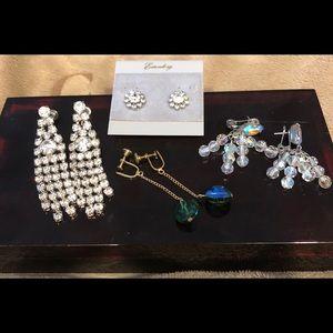 Set of 4 pairs of Vintage earrings, clip & pierced